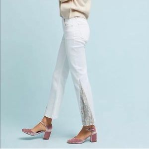 ANTHRO Pilcro White Jeans with Sequins